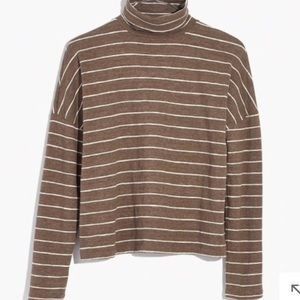 MADEWELL boxy turtleneck top in stripe